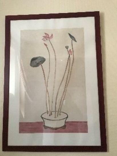 Bouquet de fleurs  Pièce encadrée  81 x 51...