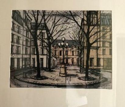 D'après B. BUFFET  Vue d'une place parisienne...