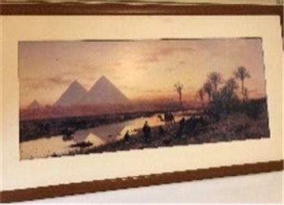 Lithographie, «Vue de pyramides»  40 x...