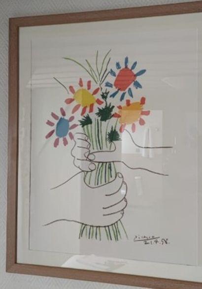 D'après P. PICASSO  Mains tenant un bouquet...