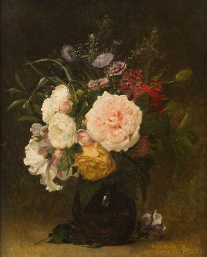 BAADER (XIXème siècle)  Bouquet de fleurs...