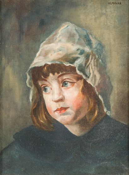 Ecole vers 1950  Portrait de fillette au...