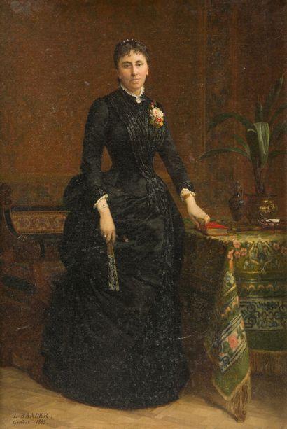 BAADER (XIXème siècle)  Femme en robe noire...