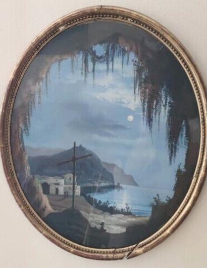 Ecole napolitaine du XIXème siècle  Grotta...