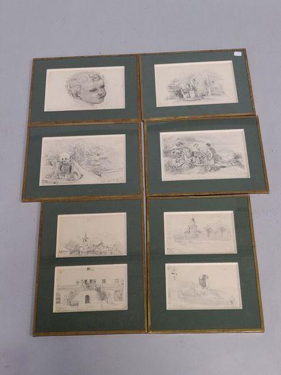 6 dessins au crayon sous six cadres.