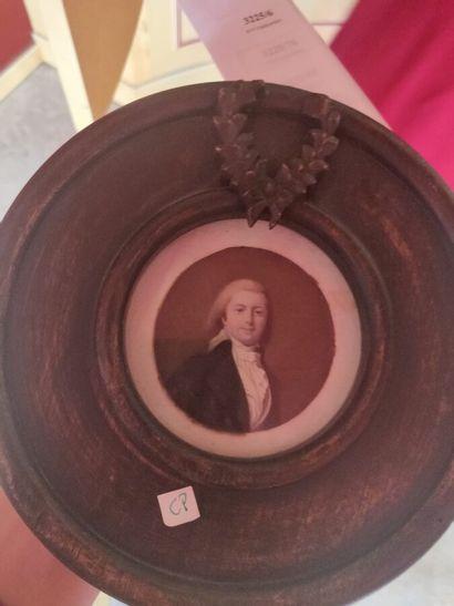 Louis GOHËL (?)  «Portrait d'homme»  Miniature...