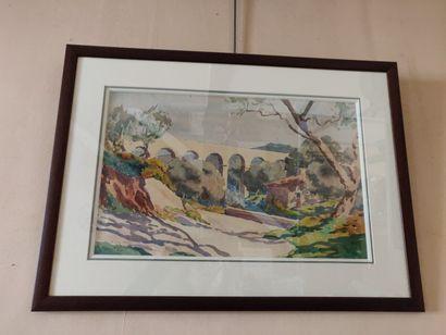 Deux aquarelles «Ajaccio» et «Toits de...