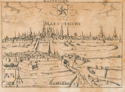 ANONYME XVIIe  Vues de villes hollandaises...