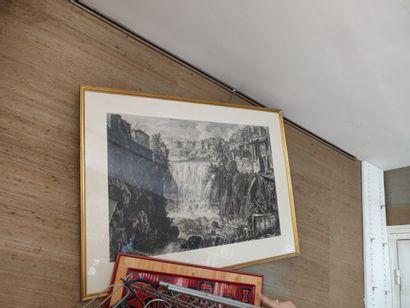 Grande gravure en noir «Torrent».  48 x...