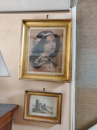Deux pièces encadrées: «Portrait de femme»,...