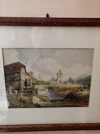 Ecole française du XIXème siècle  Château,...