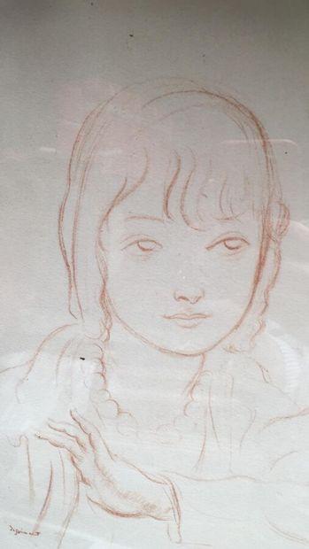 """Lot de 5 pièces encadrées :  - Lithographie de DIGNIMONT """"Jeune fille"""" (signée)..."""