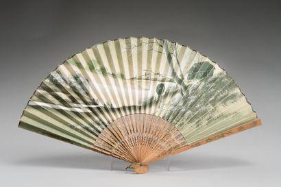 JAPON :  Éventail en papier et bois ou bambous....