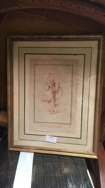 """Gravure en sanguine d'après BOUCHER  """"Homme à la cruche""""  24 x 16.5 cm."""