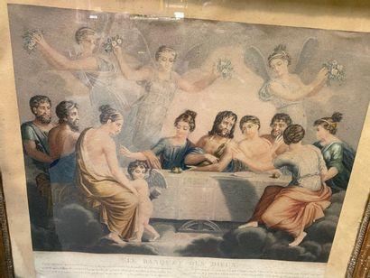 Lot de cinq gravures encadrées, comprenant :  -La Vierge à l'Enfant, d'après Rafaël....