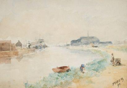 Joseph PIOCH (XIXe siècle)  Le long des berges...