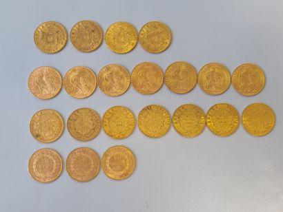 21 pièces de 20F or (usures).