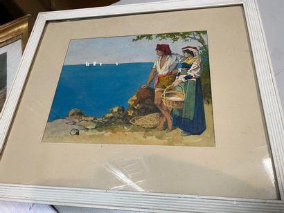 Lot comprenant :  -Paysage maritime sur la cote italienne, aquarelle et gouache...