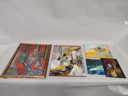 Lot de cinq peintures