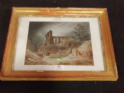 Paysage de ruines gothiques  Aquarelle et...