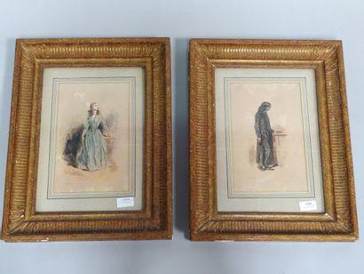 GAVARNI  «Homme» et «Femme»  Deux aquarelles,...