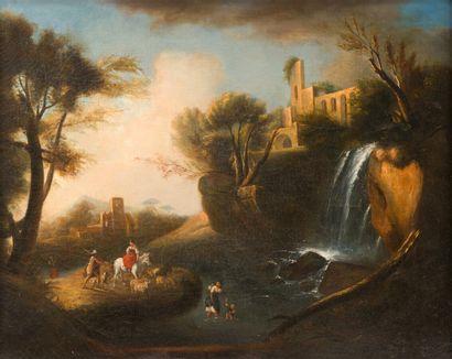 Ecole française du XIXe siècle  Paysage de ruines à la cascade, animé de personnages...