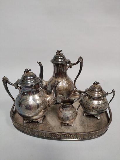 Service thé et café en métal argenté comprenant...