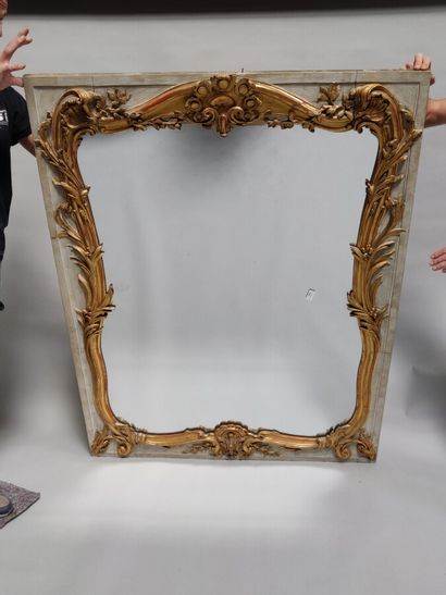 Miroir de cheminée en bois laqué crème et...