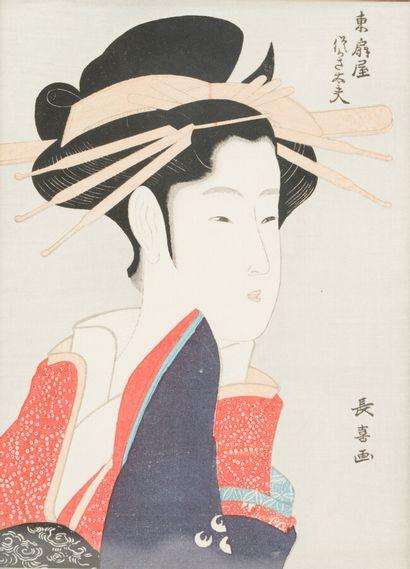 CHOKY (1785-1805)  Geisha  Estampe  23.5...