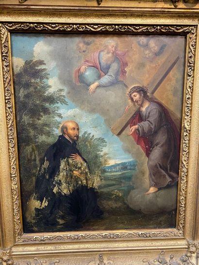 Ecole du XIXe siècle :  Apparition du Christ et de Dieu le Père  Huile sur cuivre....
