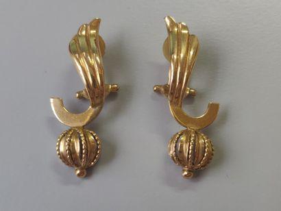 Paire de clips d'oreilles en or jaune 750/1000...