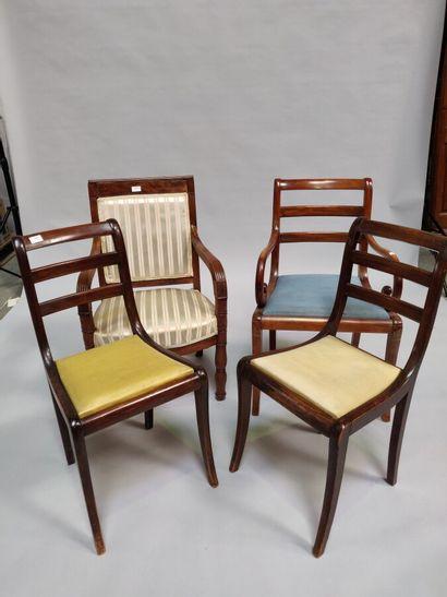 Deux fauteuils en bois fruitier, modèles...