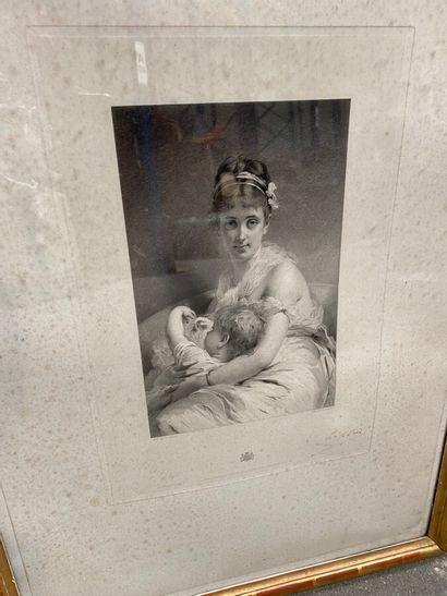 Lot de gravures encadrées, comprenant :  -L'essai du corset, d'après P.A. Wille....