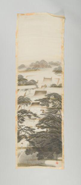 CHINE : Soierie à décor de pagodes, signée...