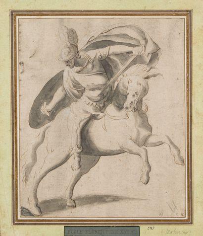 1. École du nord vers 1600  Cavalier  Plume...