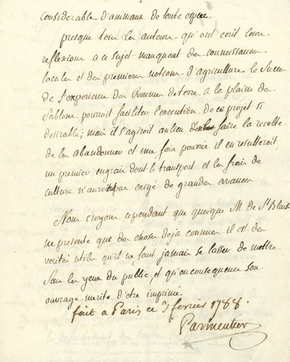 79. Antoine PARMENTIER  P.S. avec date autographe...