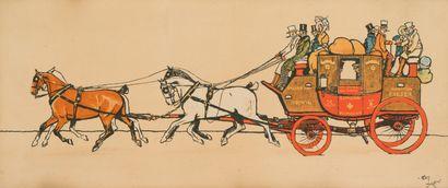 38. Cecil ALDIN (1870-1935)  Diligences  Paire d'impressions sur toile signées en...