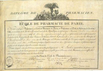 87. PHARMACIE  14 diplômes et brevets, 1674-1879...