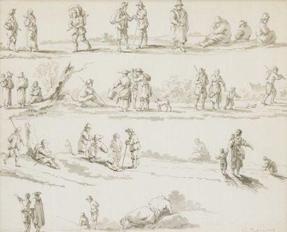 7. École du Nord vers 1800  Personnages  Deux dessins au lavis  Signés G. REYNES...