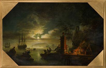 27. Suiveur De Claude-Joseph VERNET (1714-1789)   La Nuit   Huile sur toile   83...
