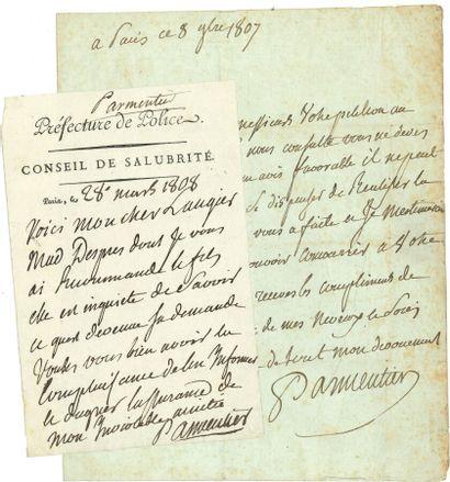 81. Antoine PARMENTIER  5 L.A.S., Paris 1795-1808...