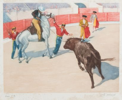 49. Achille ZO (1826-1901)  Le picador  Aquatinte...