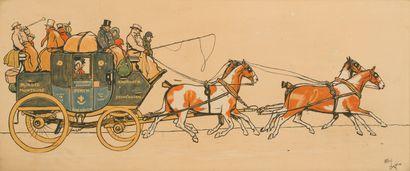 38. Cecil ALDIN (1870-1935)  Diligences  Paire...