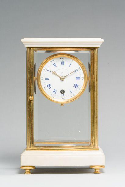 229. Pendule « cage » en marbre blanc et...