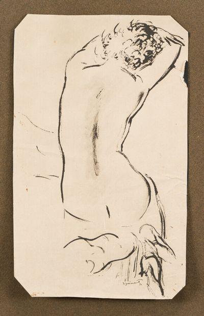 17. André DIGNIMONT (1891-1965)  Femme accoudée et femme de dos  Deux lavis sur...