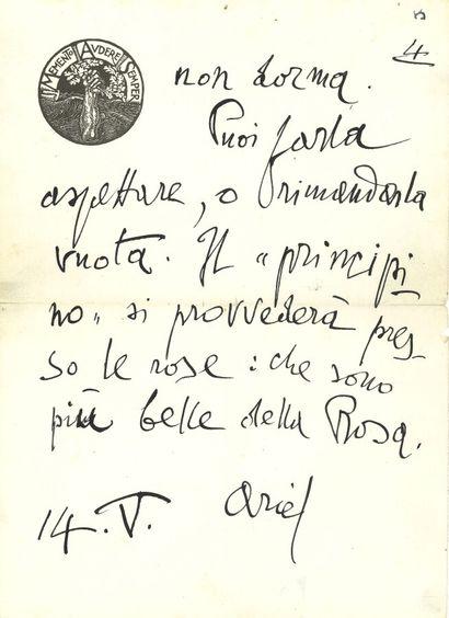 70. Gabriele d'ANNUNZIO (1863-1938) écrivain...