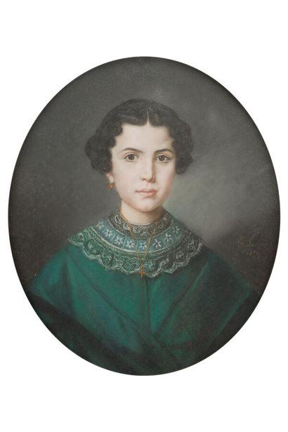 30. E. LAVIGNE  Homme, Femme de qualité, Jeune fille  Suite de trois pastels ovales,...