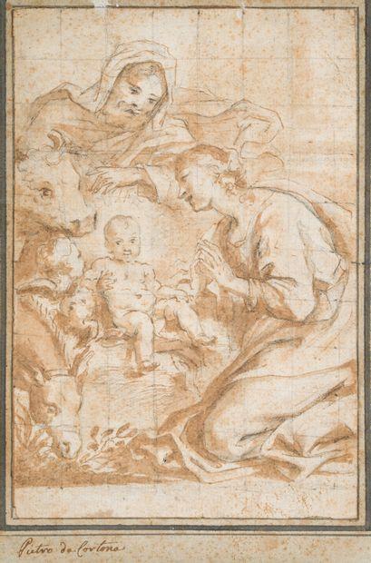 2. École italienne du XVIIe siècle  La Nativité  Plume et encre brune, lavis brun...
