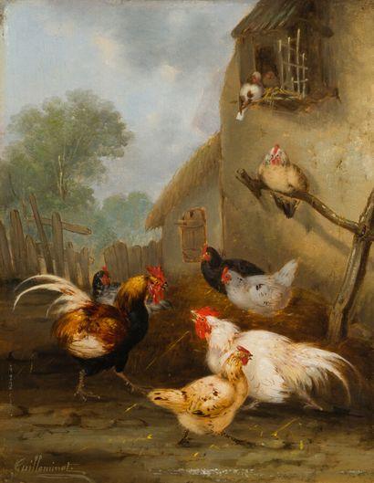 37. Claude GUILLEMINET (1821-c.1866)  Basse-cour  Deux huiles sur panneau formant...