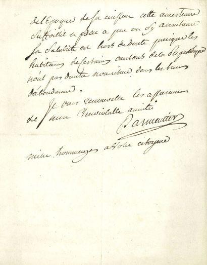80. Antoine PARMENTIER  L.A.S., à un « cher...